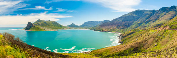 Hout Bay Panorama Panorama of Hout Bay near Cape Town, South Africa hout stock pictures, royalty-free photos & images