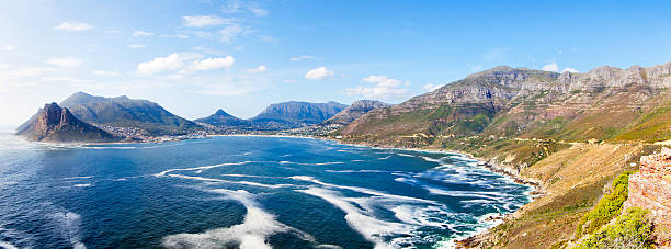 Hout Bay panoramic, Cape Town Hout Bay, large panoramic view from Sentinel in Chapman's Peak, in Cape Town hout stock pictures, royalty-free photos & images