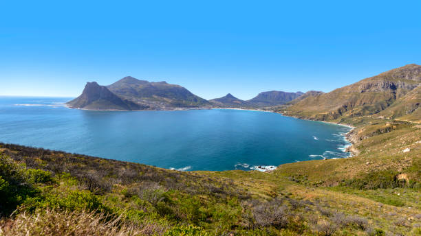 Hout Bay 'anorama view of Houtbaai, a beautifulll village on the Cape Peninsula near Capetown, South Africa. hout stock pictures, royalty-free photos & images