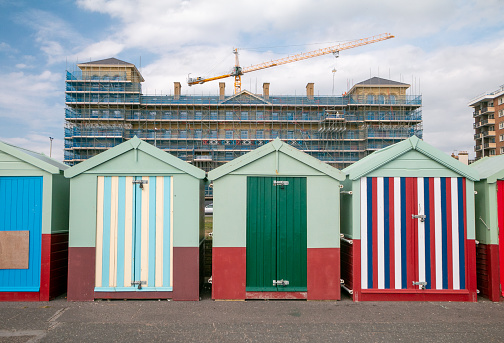 Hove Beach Huts in Brighton & Hove, England. Some of these are hired out for holidays, others are sold and some rented.