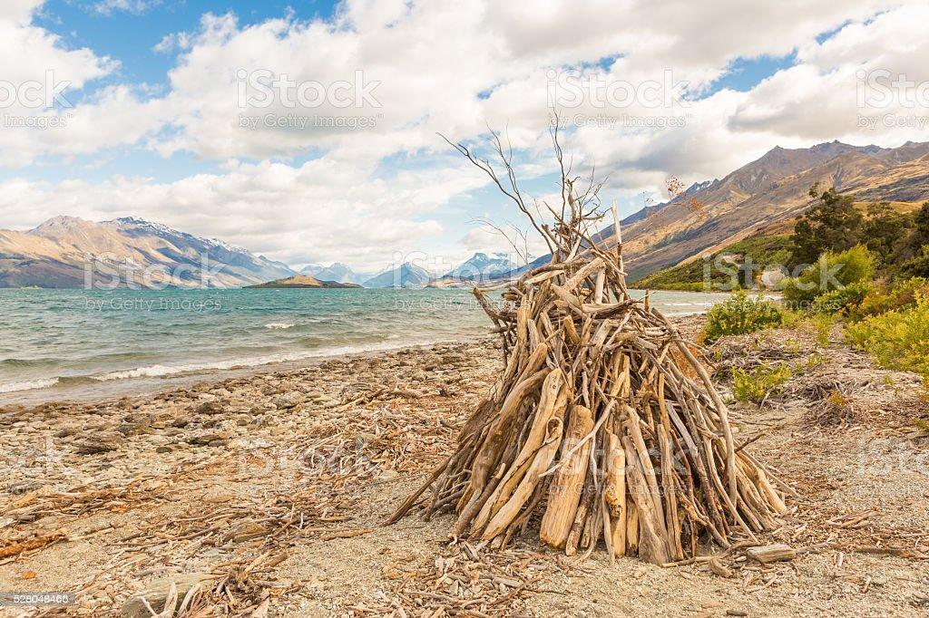 Hovel on a lake side stock photo