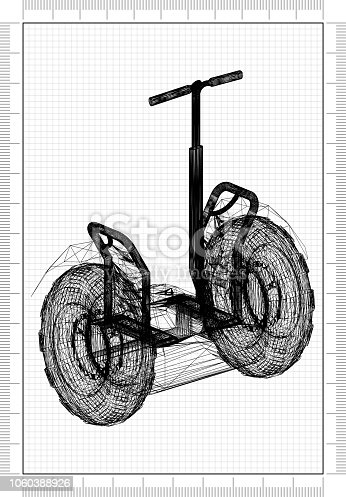 istock Hoverboard 3D blueprint 1060388926
