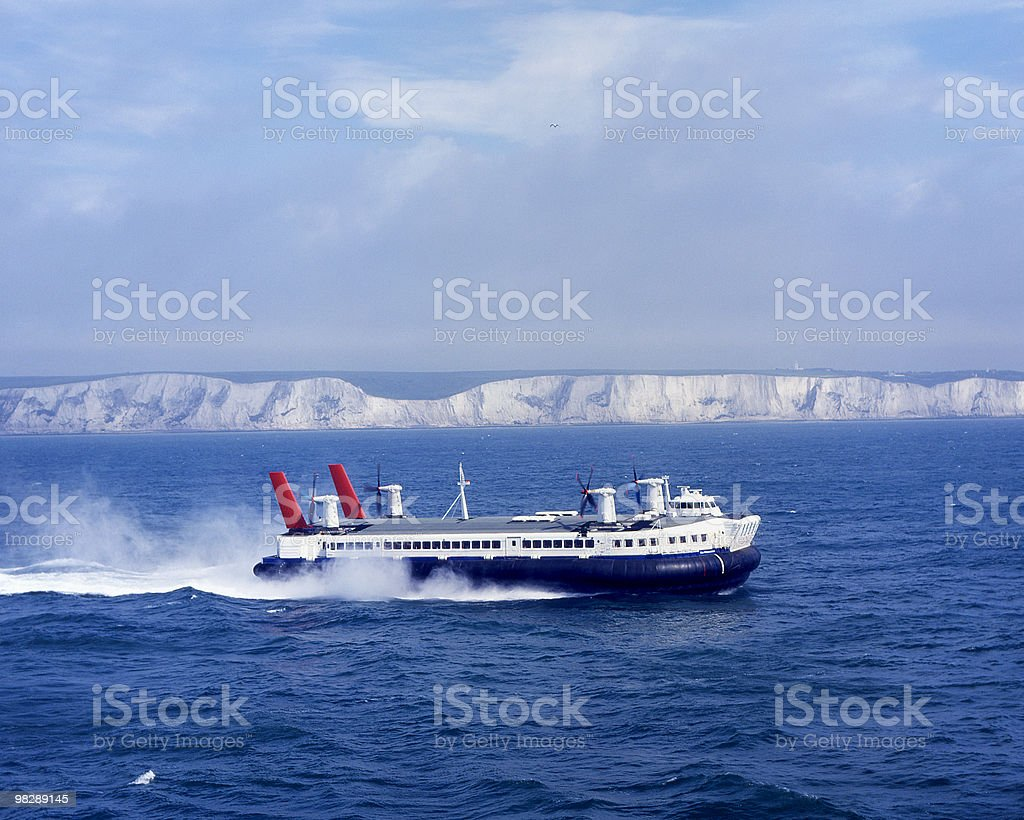 Hovercraft off Dover. England royalty-free stock photo