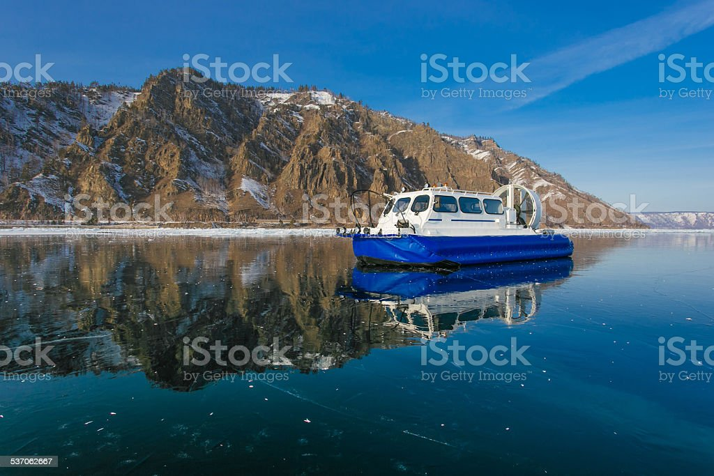 Hovercraft on pure ice stock photo