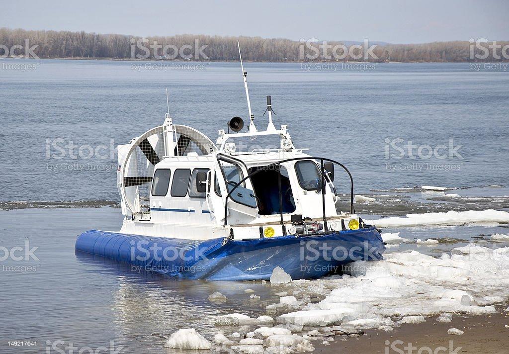 Hovercraft ship stock photo