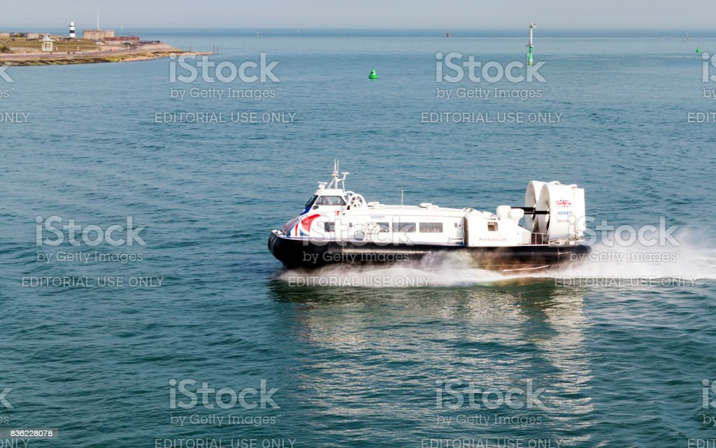 Portsmouth, Solent, UK - July 6, 2017: Hovercraft Solent Flyer GH-2160 approaching Portsmouth with passengers from the Isle of Wight stock photo