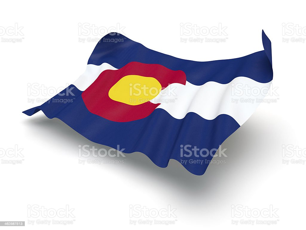 Hovering Flag of Colorado (Clipping Path) stock photo