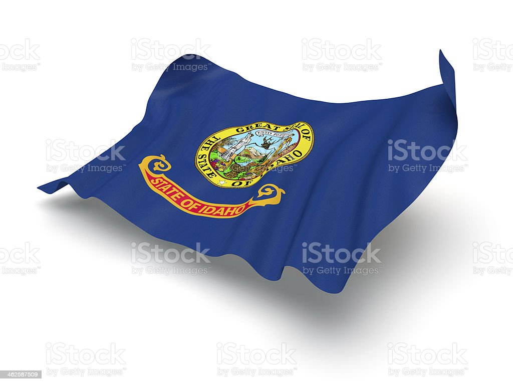 Hovering Flag of Idaho (Clipping Path) stock photo