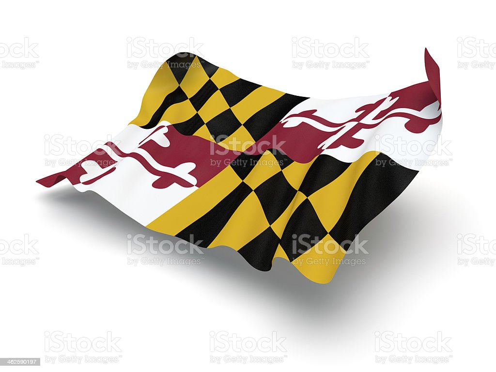 Hovering Flag of Maryland (Clipping Path) stock photo