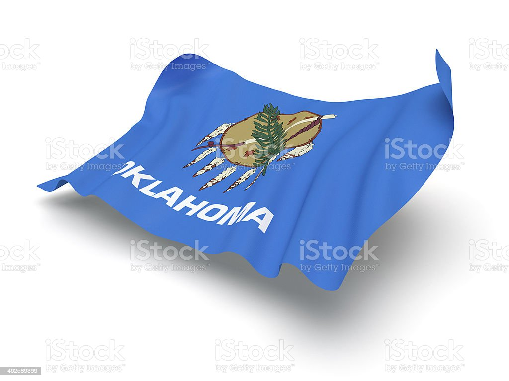 Hovering Flag of Oklahoma (Clipping Path) stock photo