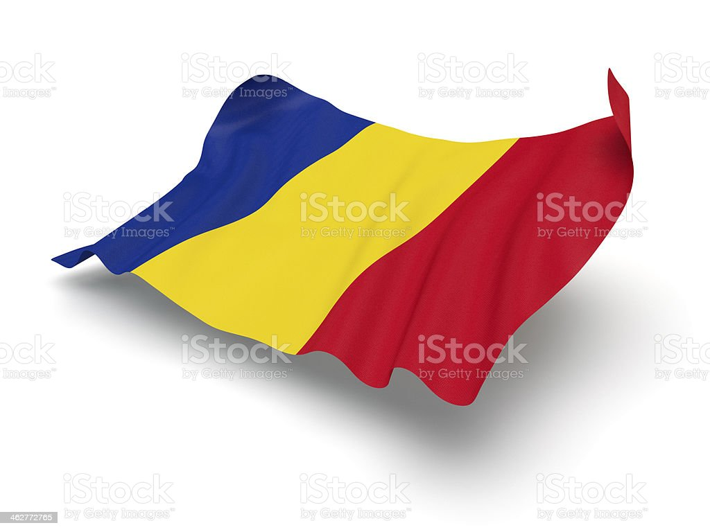 Hovering Flag of Romania (Clipping Path) stock photo