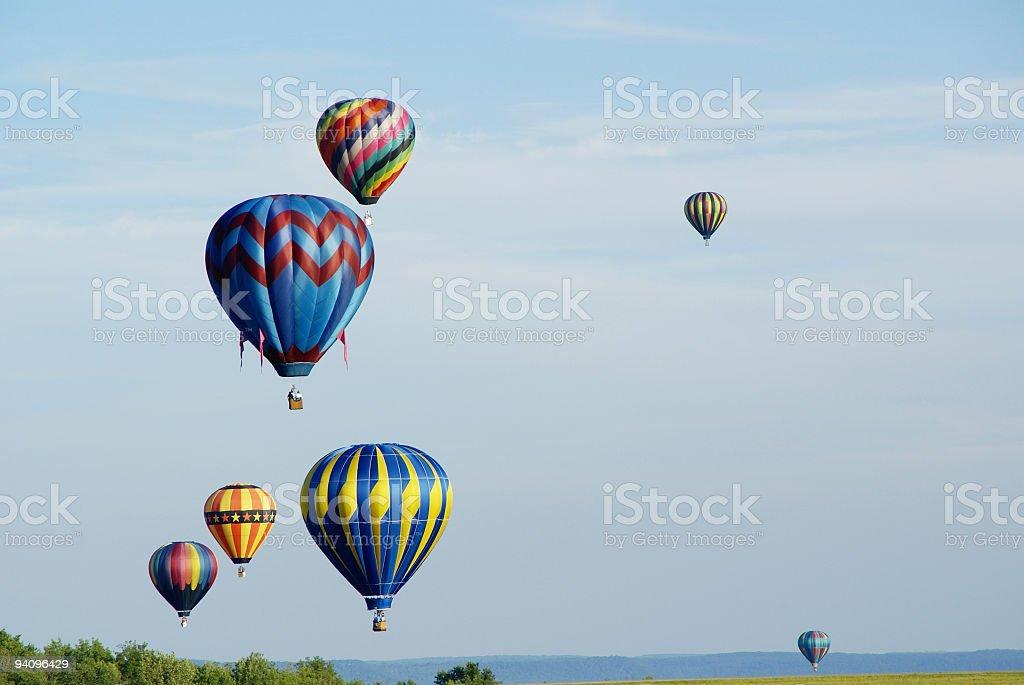 Hovering Hot Air Balloons royalty-free stock photo