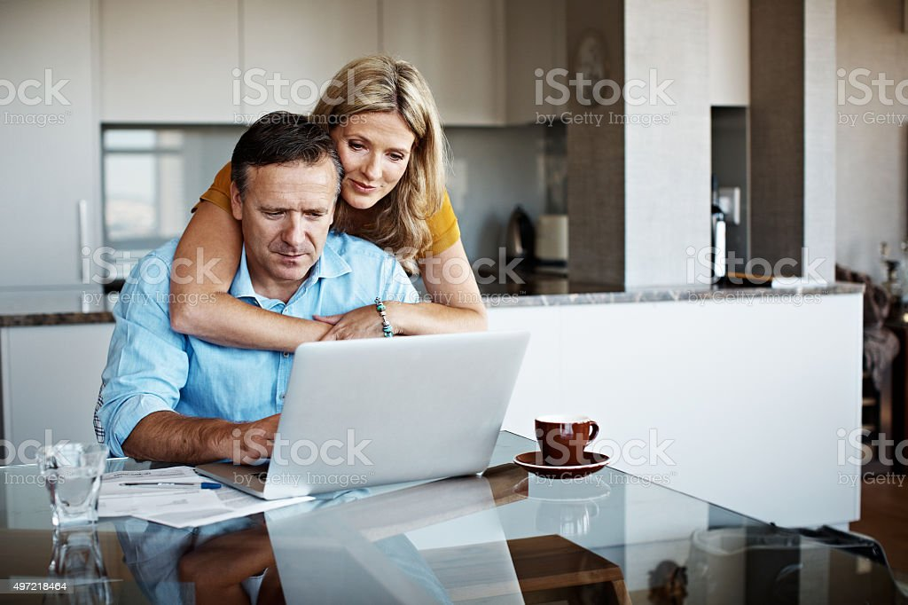 How are the finances looking honey? stock photo