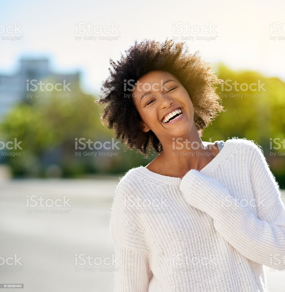 How beautiful it is to see her happy stock photo