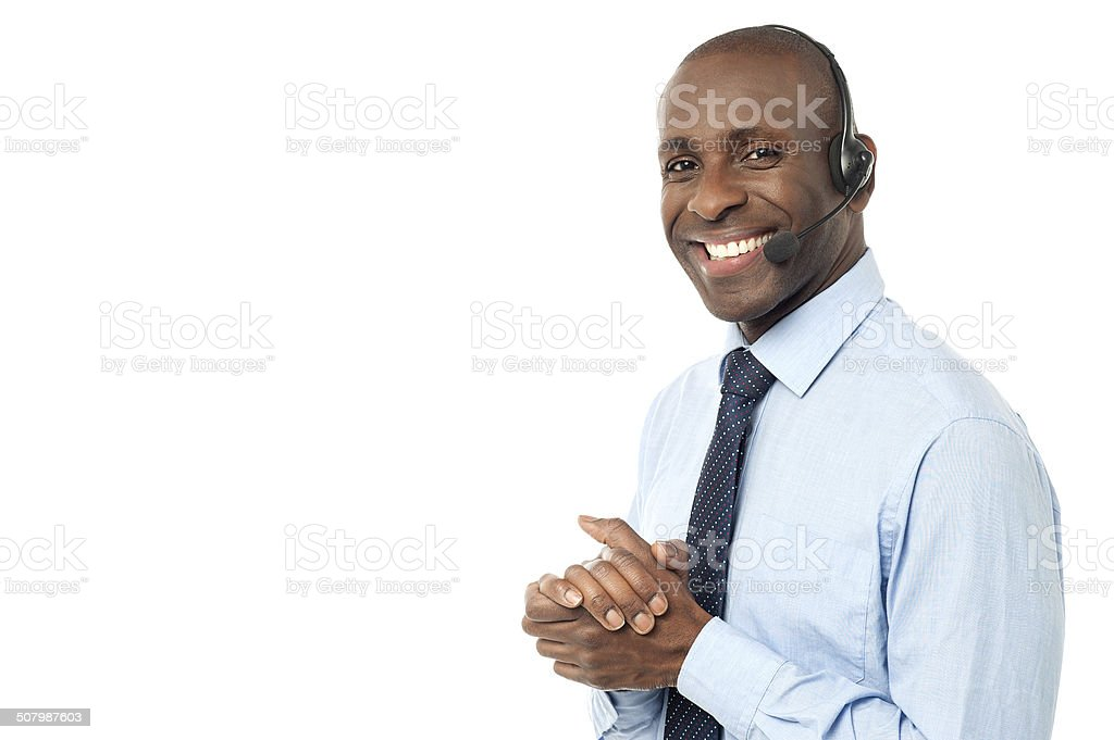 How can I assist you ? Happy smiling customer support executive Adults Only Stock Photo