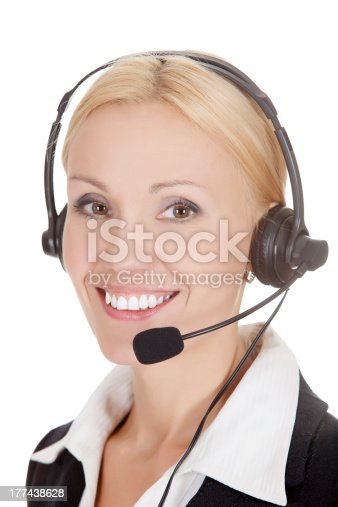 How can I help you Call center operator against white background.