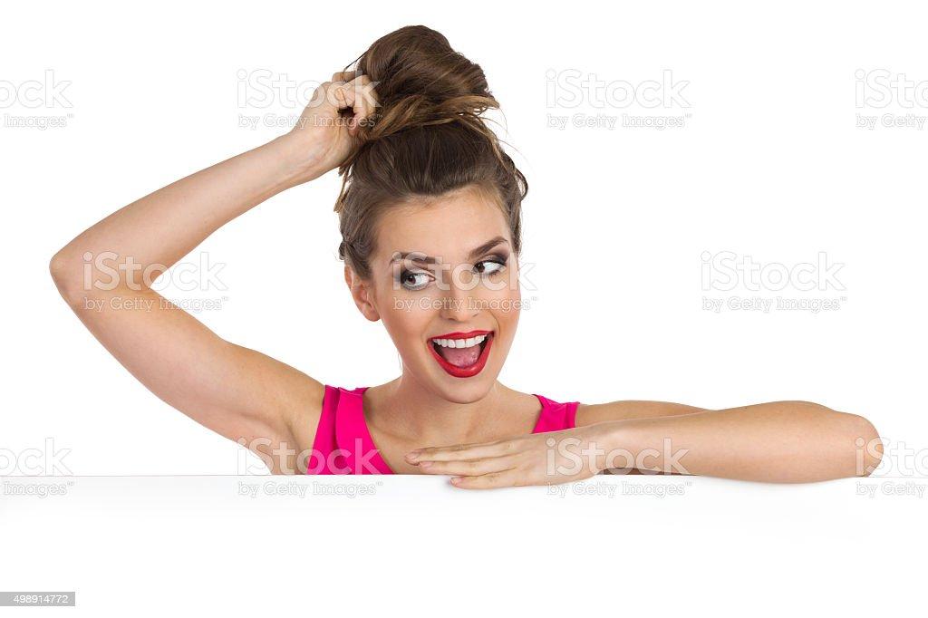 How Do I Look With Hair Bun stock photo