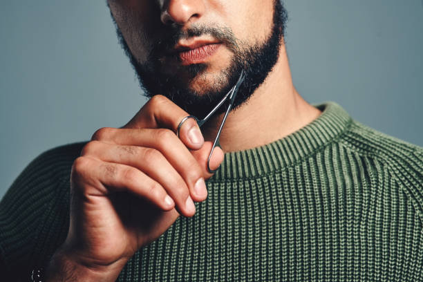 How he keeps his beard looking good stock photo