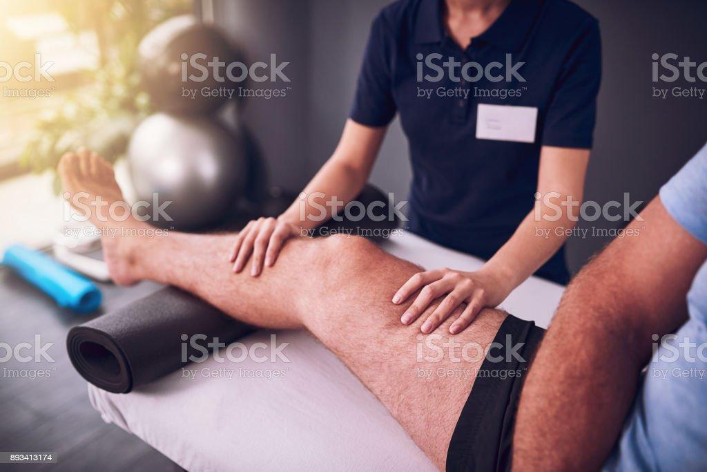 How is this knee progressing stock photo