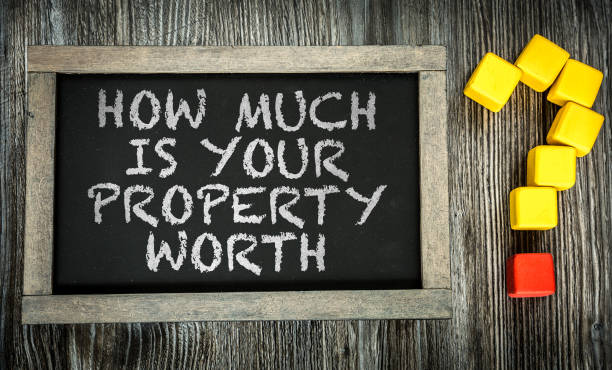 how much is your property worth? - estate agent sign stock photos and pictures