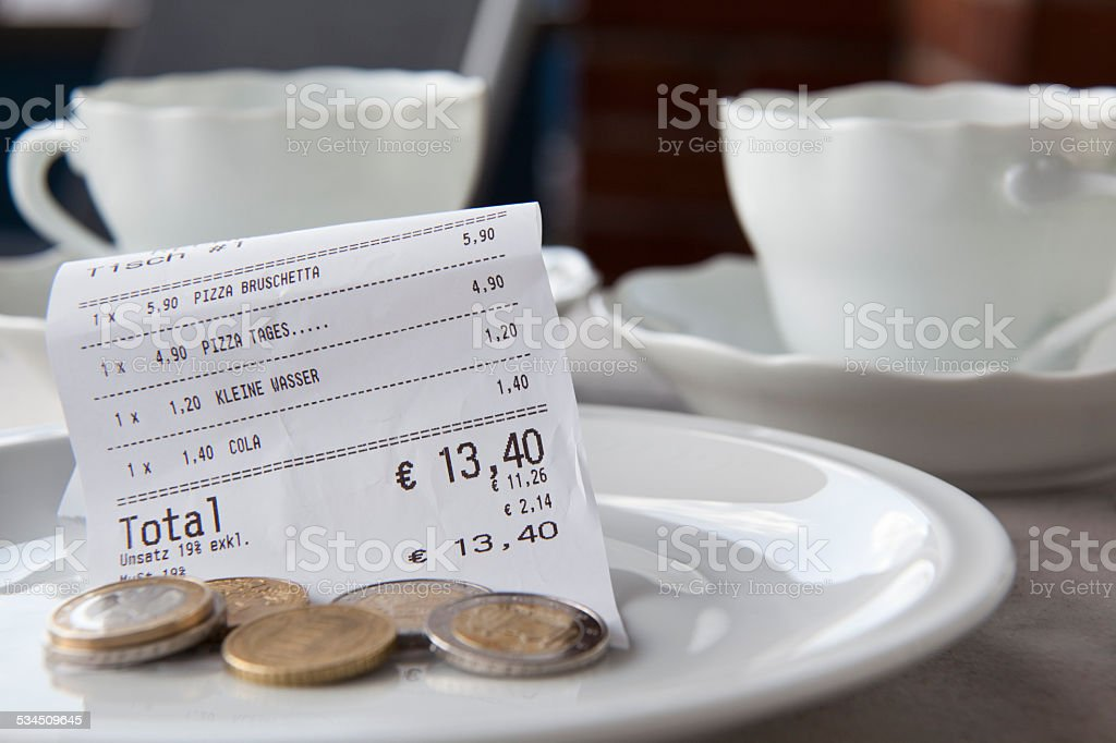 how much tip to pay stock photo