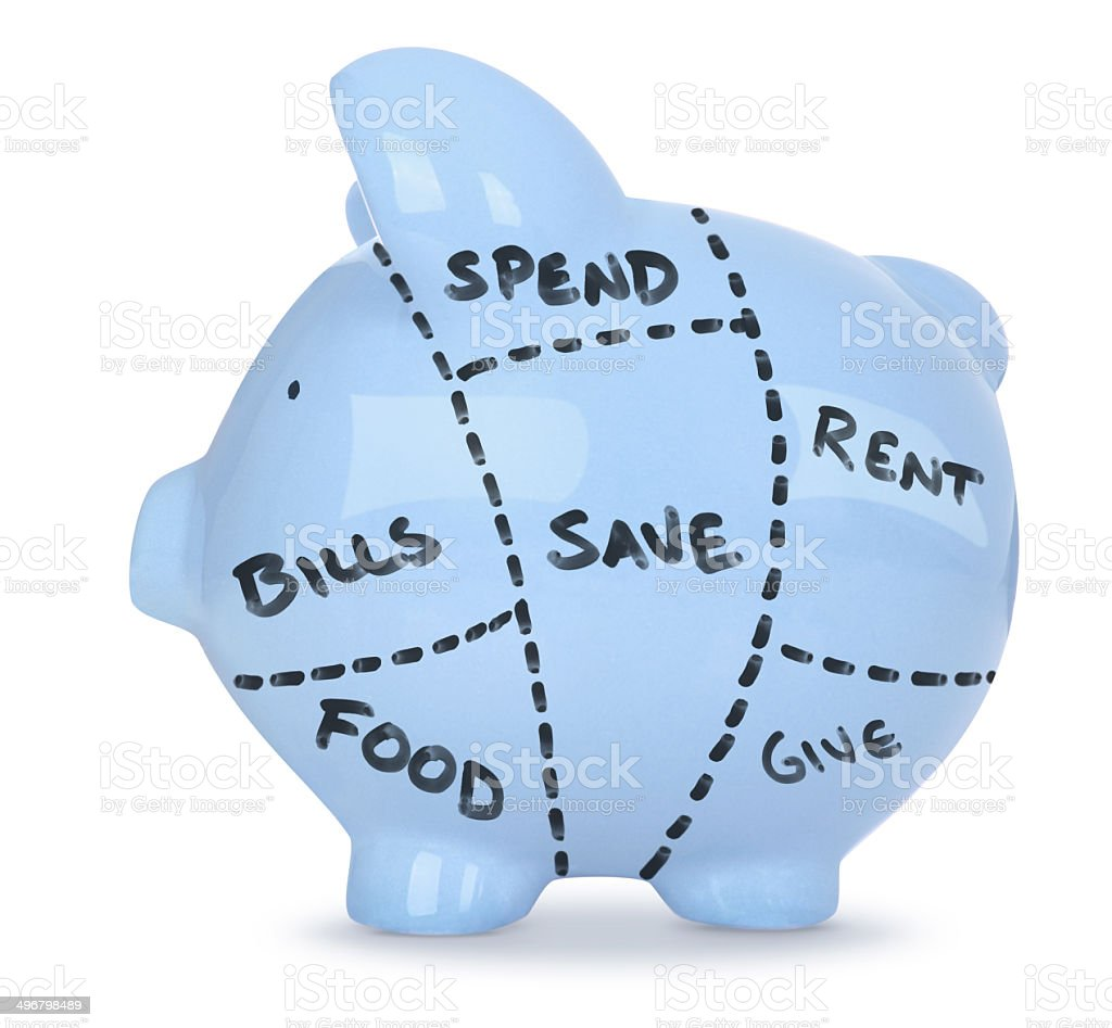 How Savings Are Spent - Blue Piggy Bank on White stock photo
