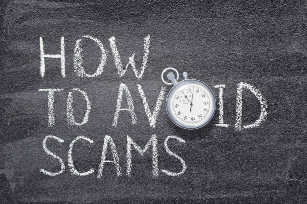 how to avoid scams watch how to avoid scams phrase written on chalkboard with vintage stopwatch used instead of O avoidance stock pictures, royalty-free photos & images