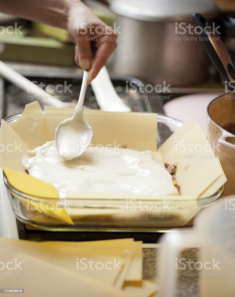 How to cook Lasagne stock photo