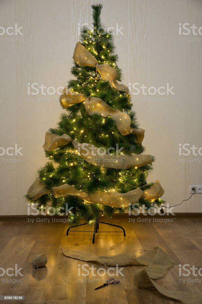 How To Decorate Christmas Tree With Sackcloth Ribbon Stock Photo Download Image Now Istock
