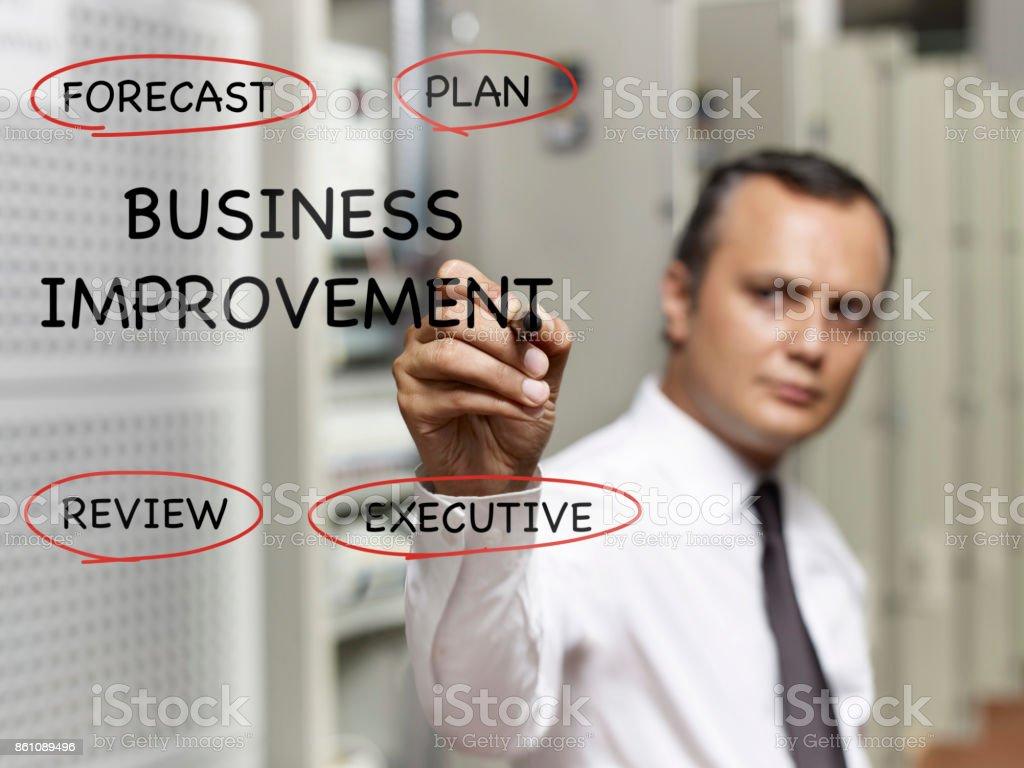 "businessman writing ""business improvement topics"" on transparent..."