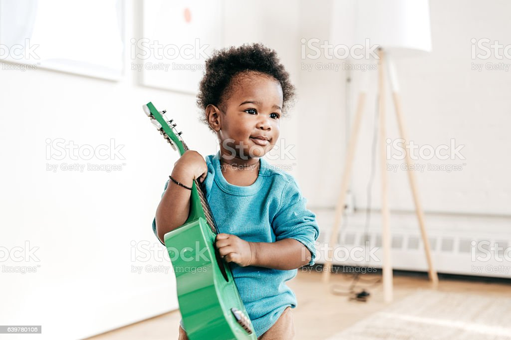 How to involve toddlers to music stock photo