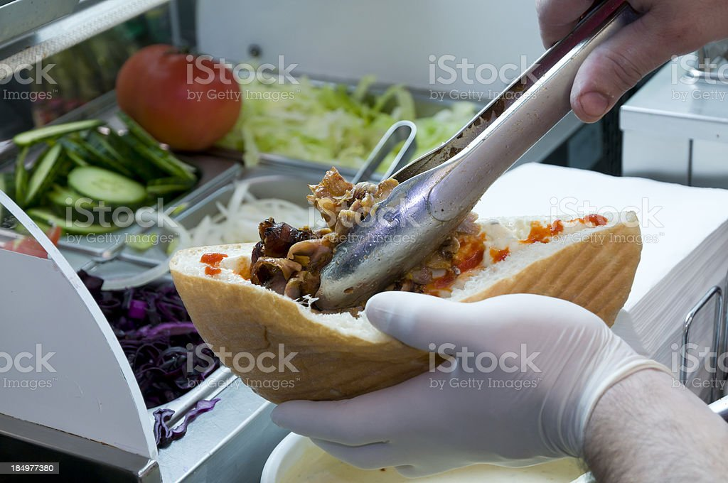 How to make a kebab stock photo