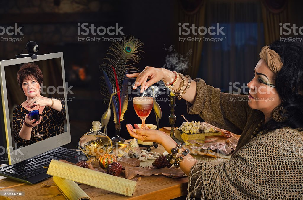 How to make a love-philtre with witch online stock photo