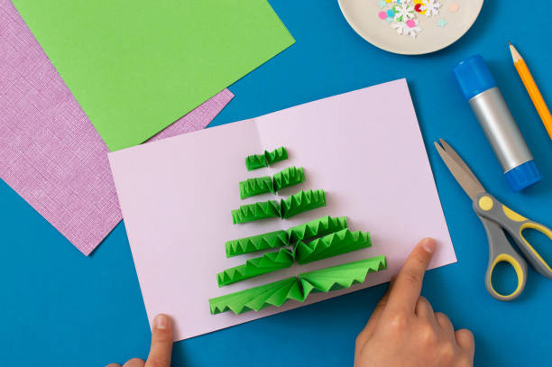 How to make Christmas card with volumetric tree. Step 8 stock photo