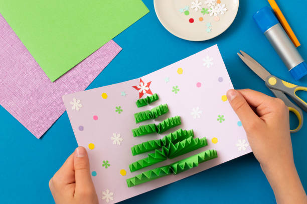 How to make Christmas card with volumetric tree. Step 9 stock photo