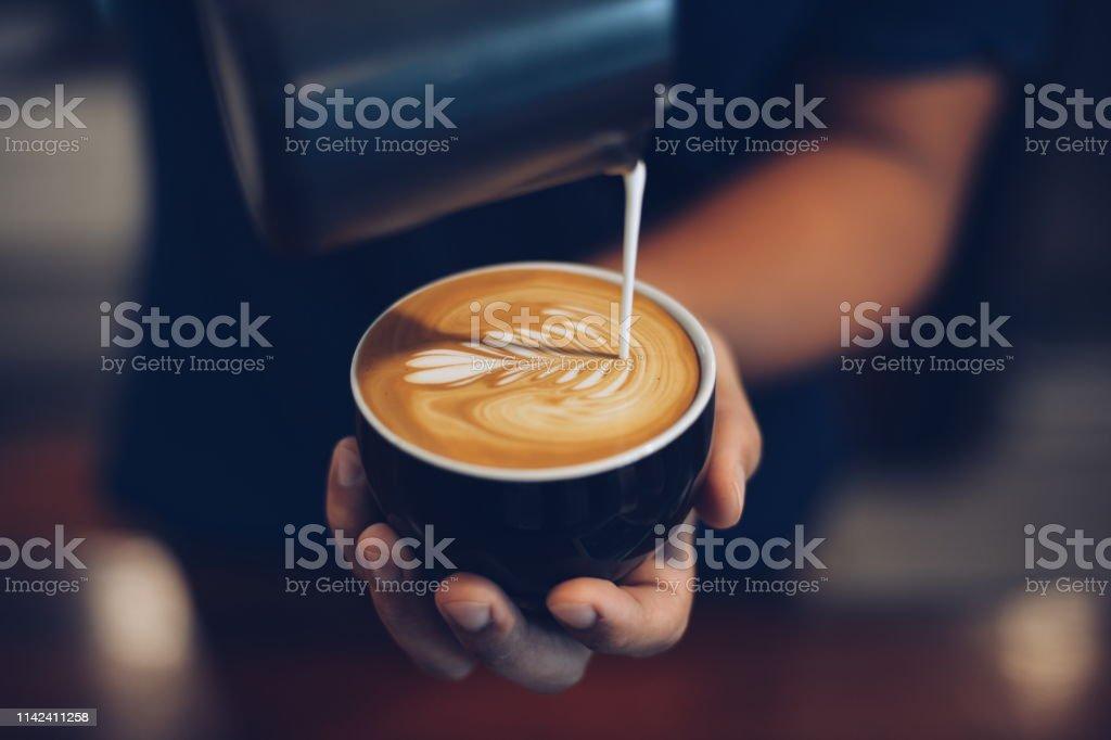 how to make coffee latte art how to make coffee latte art Art Stock Photo