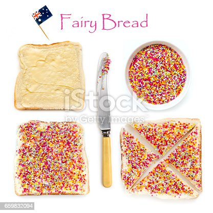How to make fairy bread, traditional Australian children's party food.  Hundreds and thousands candy sprinkles on buttered white bread.