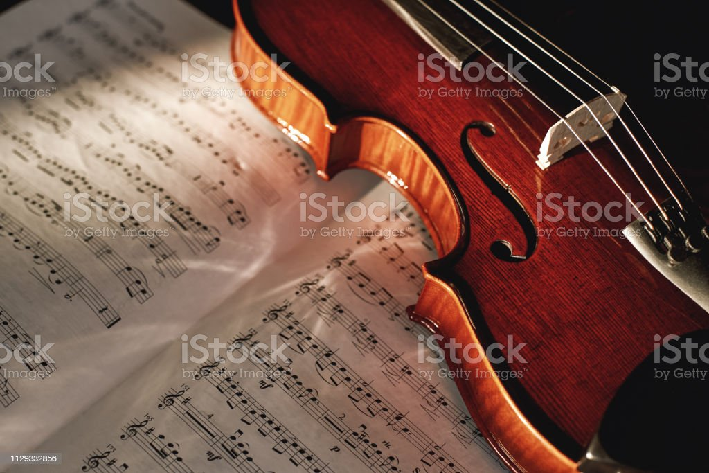 How to Read Violin Notes? Close up view of brown wood violin lying on...