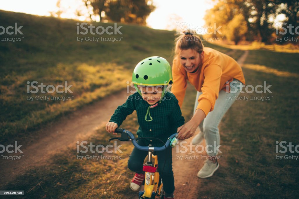 How to ride a bike? stock photo