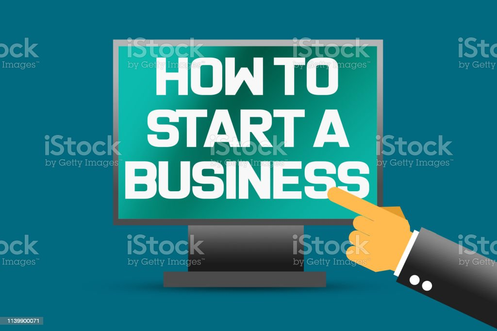 How to start a business word on computer screen, 3d rendering