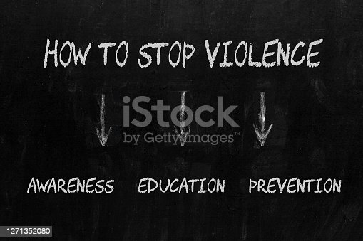 How to Stop Violence diagram including Awareness, Education and Prevention on blackboard.