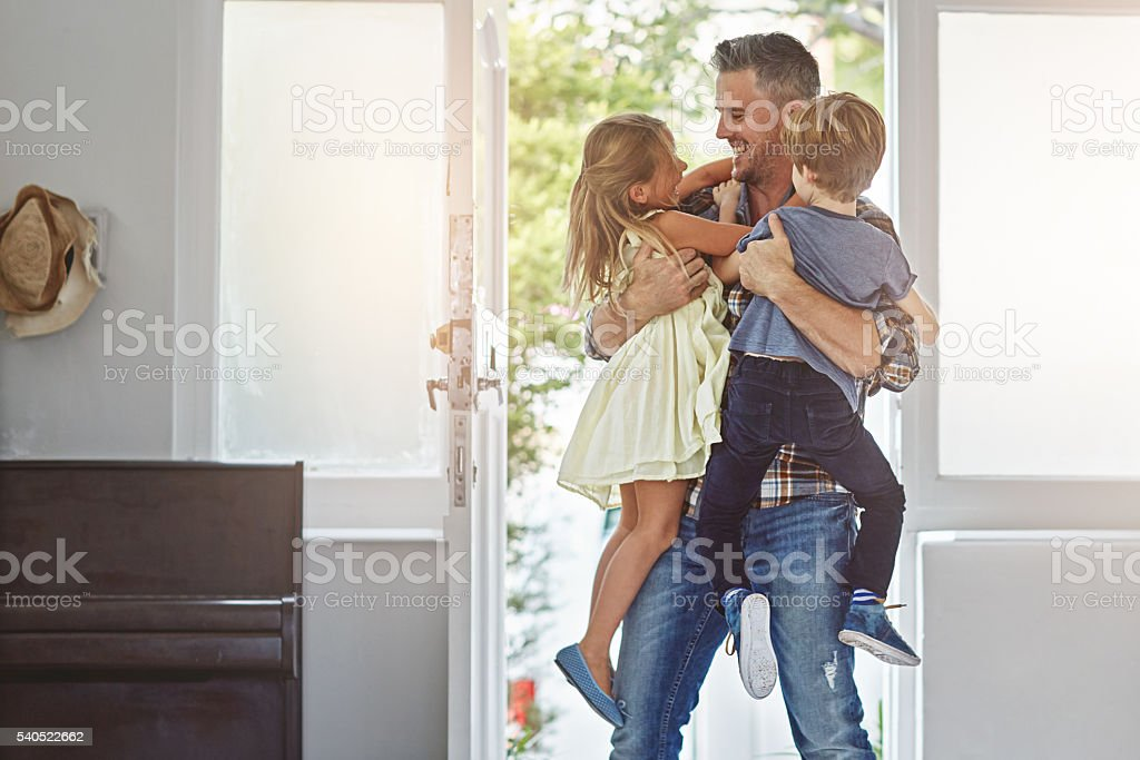 How was your day daddy? stock photo