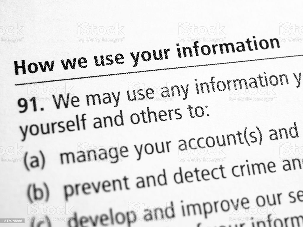 How we use your information stock photo