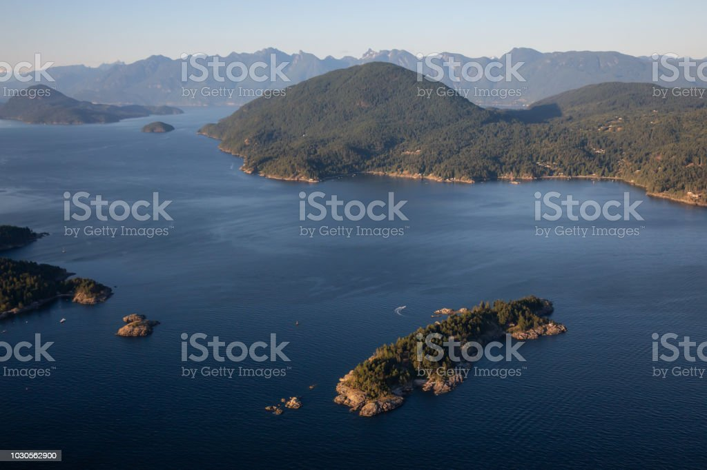 Howe Sound Aerial stock photo