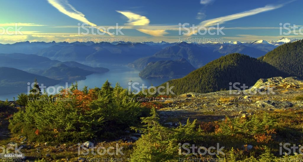 Howe Sound Fall Panorama from Mount Strachan stock photo
