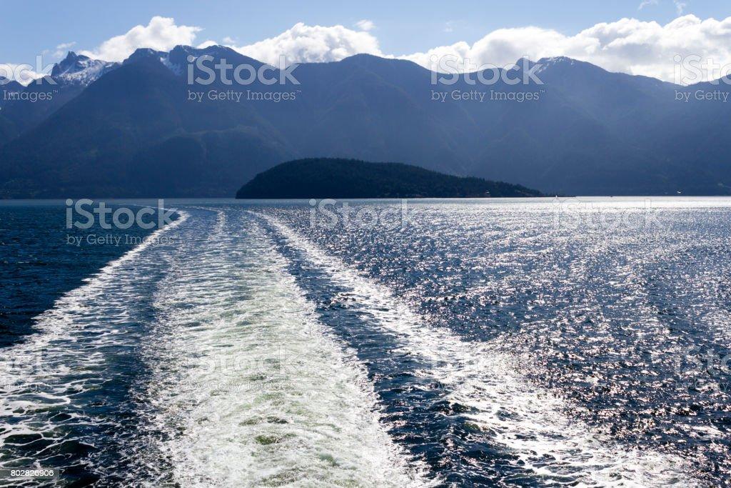 Howe Sound Ferry Wake stock photo