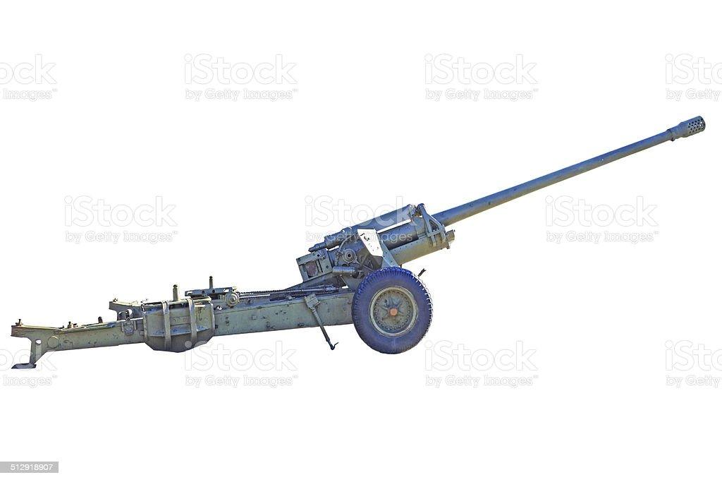 Howitzer on white stock photo