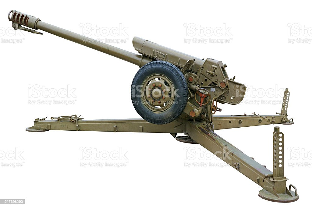 Howitzer side view stock photo
