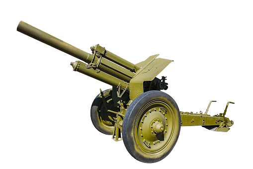 Soviet 122 mm howitzer M1938 (M-30) from period World War II. Front view, isolated on white background