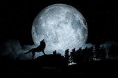 Howling Wolf Dark Background. Full Moon and the Wilderness. 3d illustration